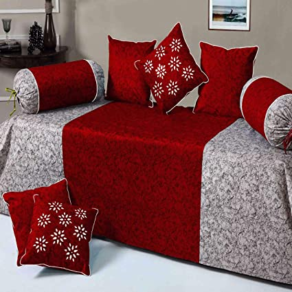 HandTex Home Premium Velvet Diwan Set of 8pc Marron(1 Bedsheet with 2 Blosters and 5 Cushion Covers)