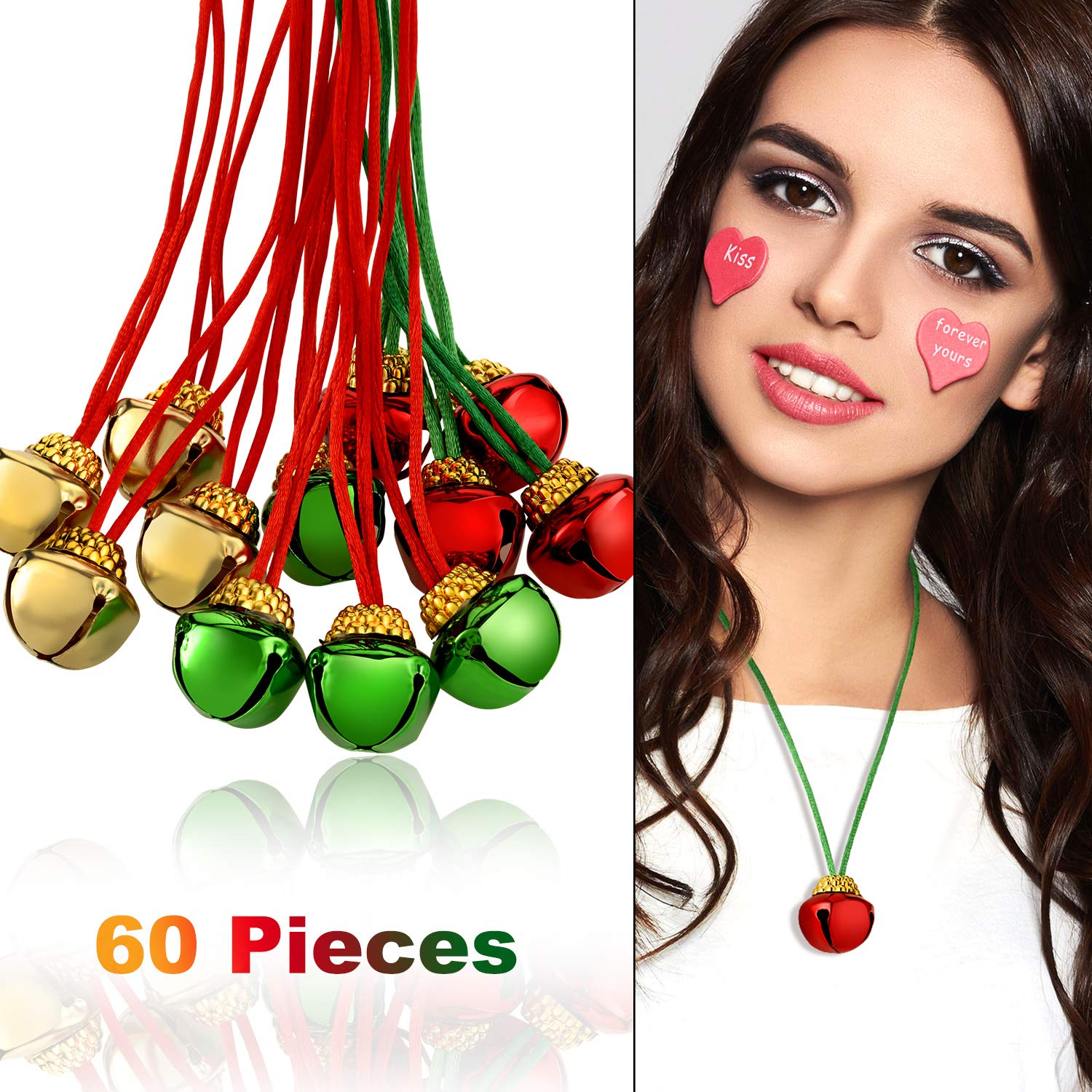 Gejoy 60 Pieces Christmas Bell Necklaces Christmas Holiday Necklaces for Christmas Party Decoration by Gejoy