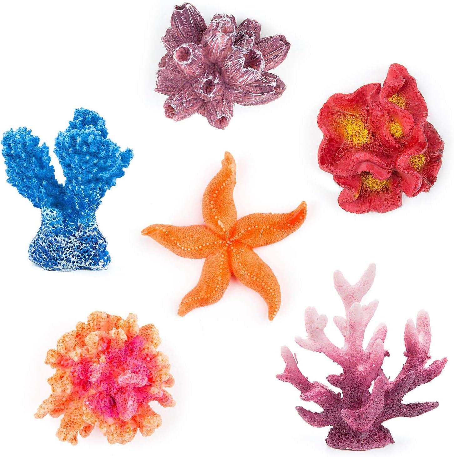Jolintek 5 Pezzi Resina Corallo Stella Decorazione Acquario Serbatoio Ornamento Aquarium Ornament Coral Fish Tank Aquarium Artificiale di Corallo per Acquario di Pesci Subacqueo Giardino Terre