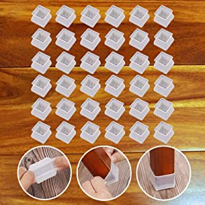 32Pcs Furniture Silicon Protection Cover - Square Silicone Chair Leg Floor Protectors - Chair Leg Caps Furniture Table Feet Cover - Prevents Scratches and Noise Without Leaving Marks