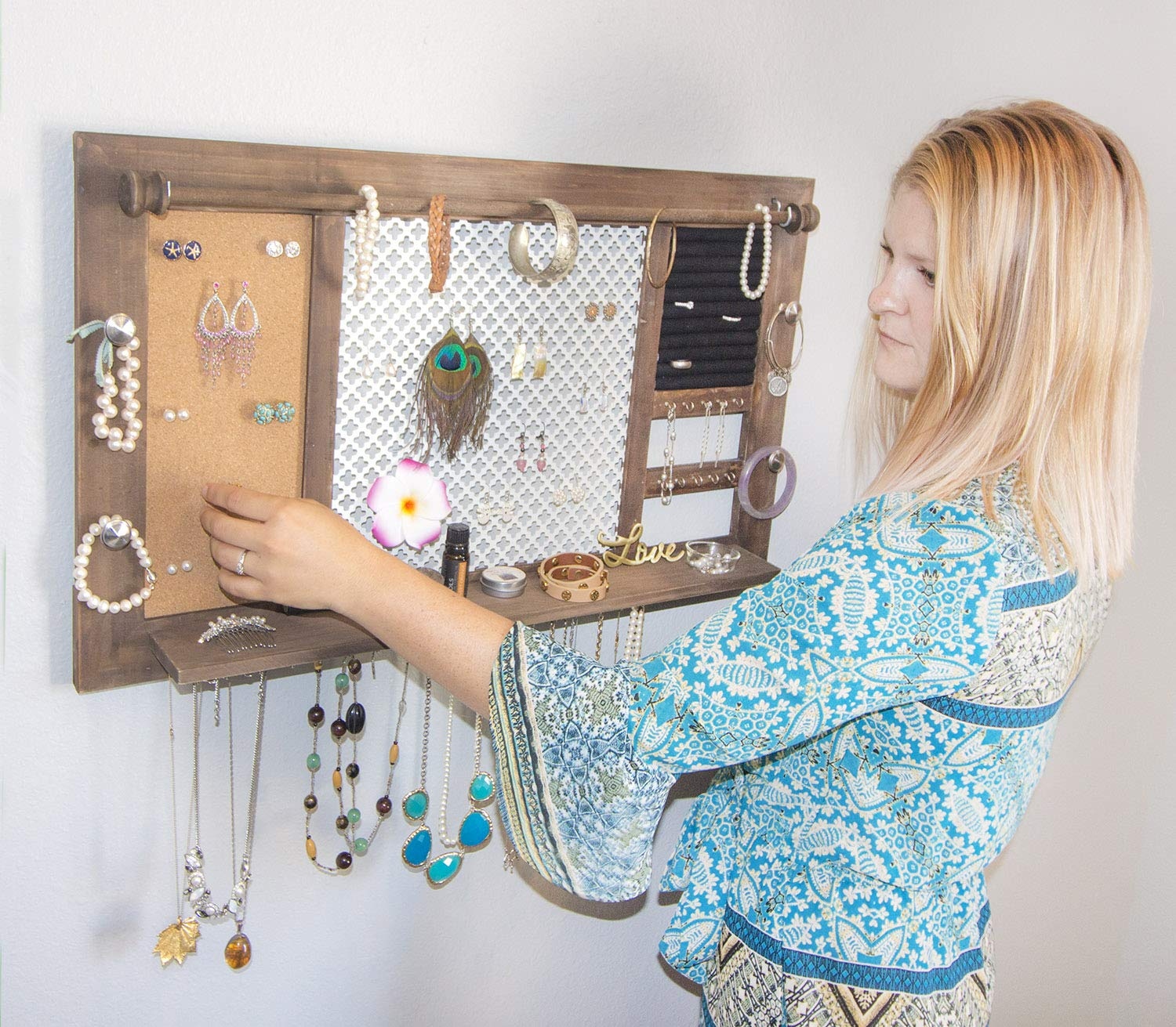 SoCal Buttercup Deluxe Rustic Wood Jewelry Organizer - from Hanging Wall Mounted Wooden Jewelry Display - Organizer for Earrings, Necklaces, Bracelets, Studs, and Accessories by SoCal Buttercup (Image #3)