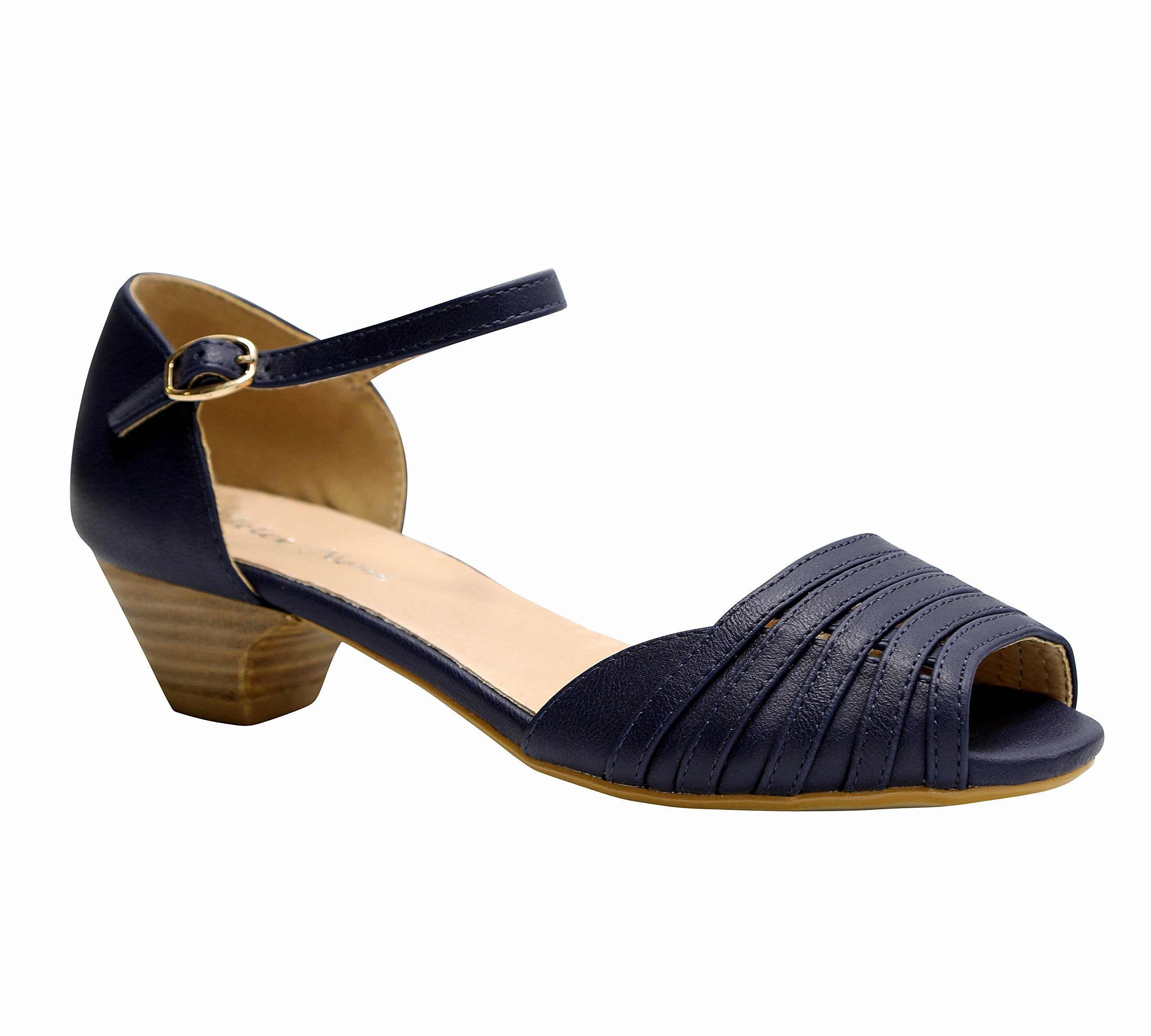 Dolce Nome Open Toe Low Heels Women's Designer Shoes Italian Style Well Constructed Ladies Fancy Shoes (38, Navy)