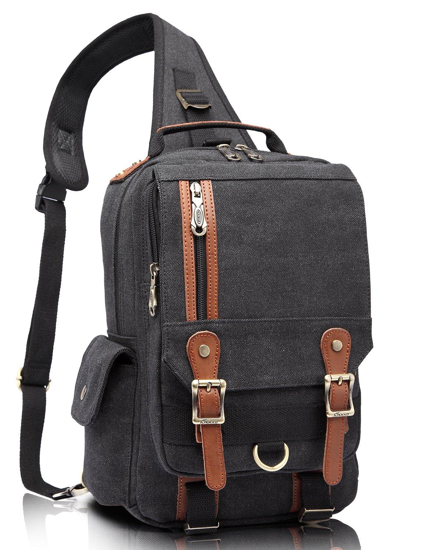 KAUKKO Unisex Canvas Leather Chest Pack Outdoor Single Shoulder Bag Messenger Bags Black