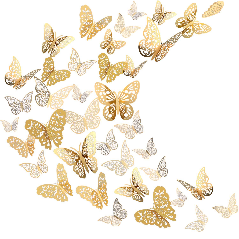 Sticker Mural Papillon 3D Sticker Mural Volant Décor Décorations d'Art dans 6 Styles Différents pour Chambre Accueil Garderie Salle de Cours Bureaux Décor, Or 72 Pièces