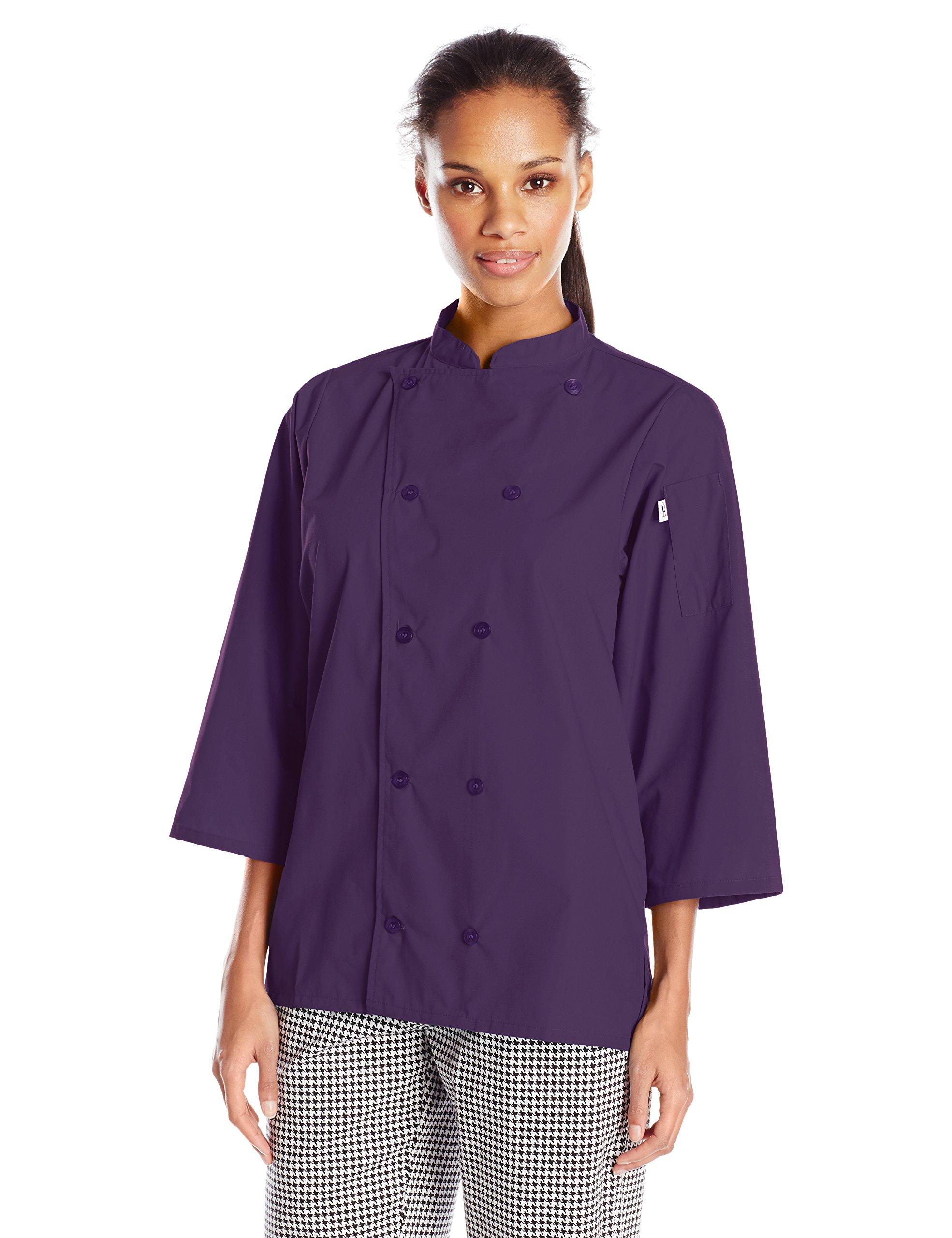 Uncommon Threads Unisex Epic 3/4 Sleeve Chef Shirt, Eggplant, Large