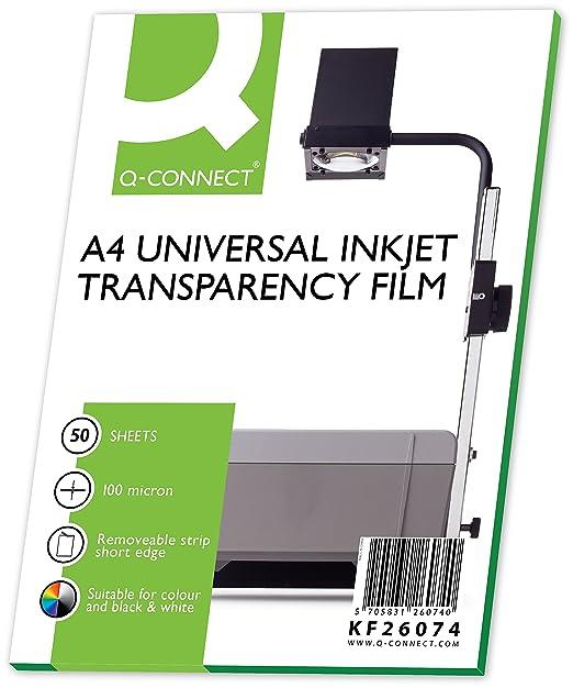 Q-Connect KF26074 OHP - Papel para impresoras de inyección (50 unidades)