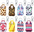 24 Pieces 8 Sets Bottle Keychain Holders Include Neoprene Keychain Holder Key Ring Clips and 30 ml Empty Travel Size Bottle Portable Refillable Containers for Travel Outdoor Activities School