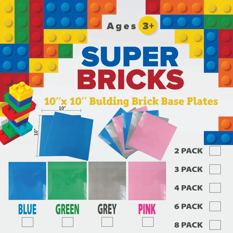 8 Baseplates - LEGO Compatible Super Bricks Large 10 x 10 Baseplate GREEN Pack