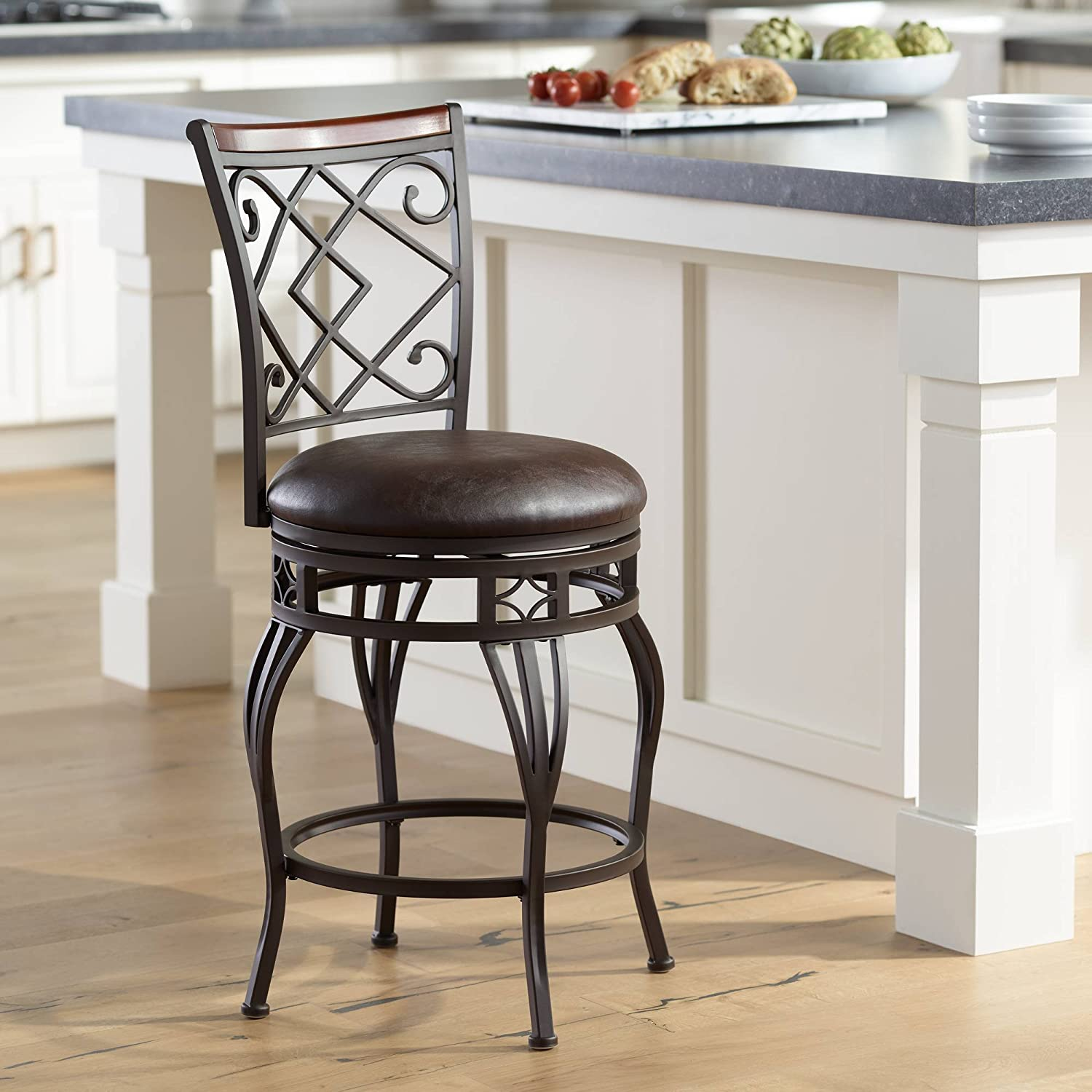 Hartley 25 Wood And Bronze Metal Swivel Counter Stool Kensington Hill Kitchen Dining