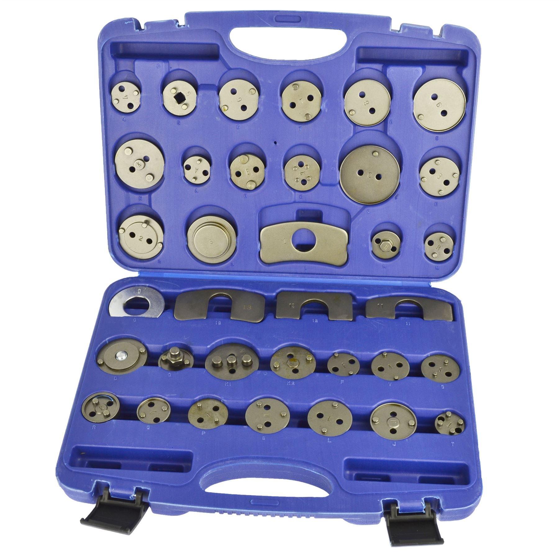 AB Tools-US Pro 35pc Universal Brake Calliper Pad Piston Wind Back Adaptor Adapter Set