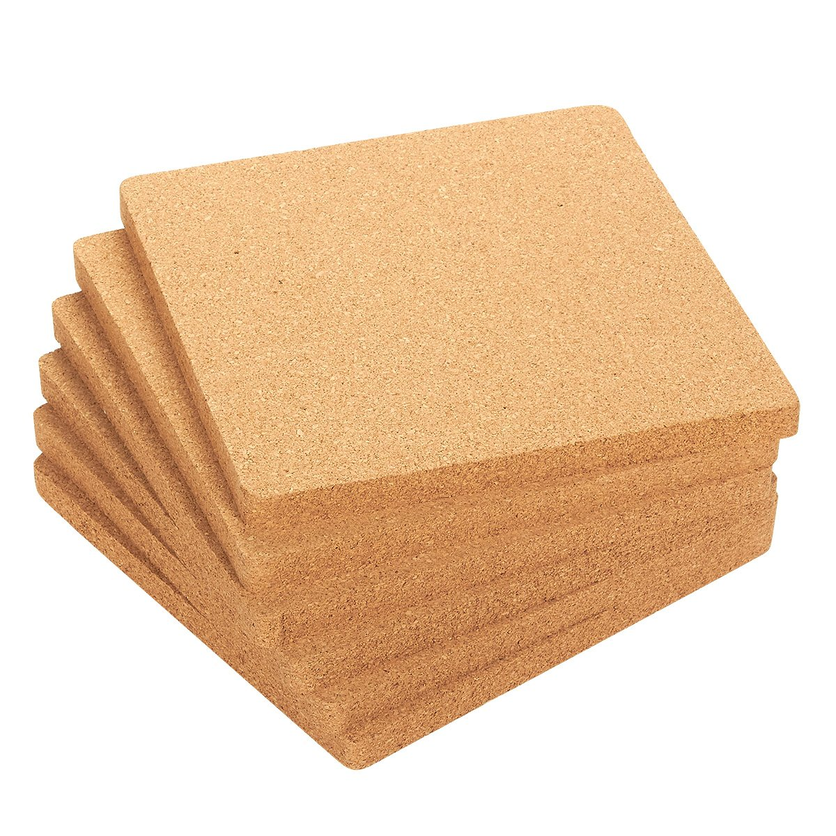 Juvale 6-Pack Cork Trivet Set - Square Corkboard Placemats Kitchen Hot Pads for Hot Pots, Pans, and Kettles, 7 x 7 x 0.5 Inches