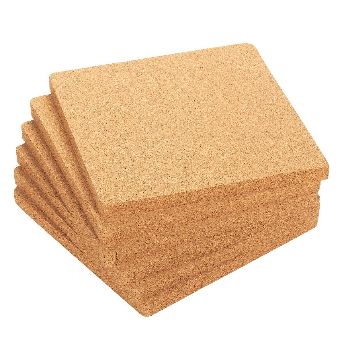 Juvale 6-Pack Cork Trivet Set - Square Corkboard Placemats Kitchen Hot Pads Hot Pots, Pans Kettles, 7 x 7 x 0.5 inches