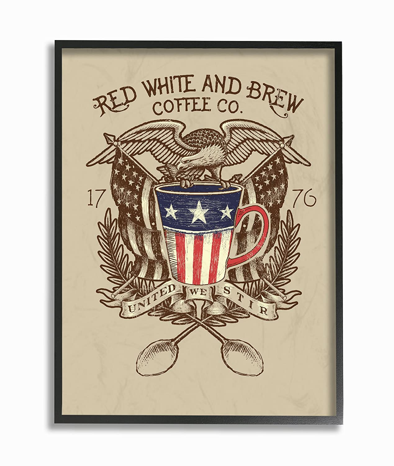 16 x 1.5 x 20 Stupell Home D/écor Red White and Brew Coffee Co Oversized Framed Giclee Texturized Art Proudly Made in USA