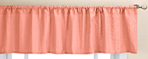 LORRAINE HOME FASHIONS Seersucker Solid Color Tailored Window Valance, 56 X 13 Inches, Coral