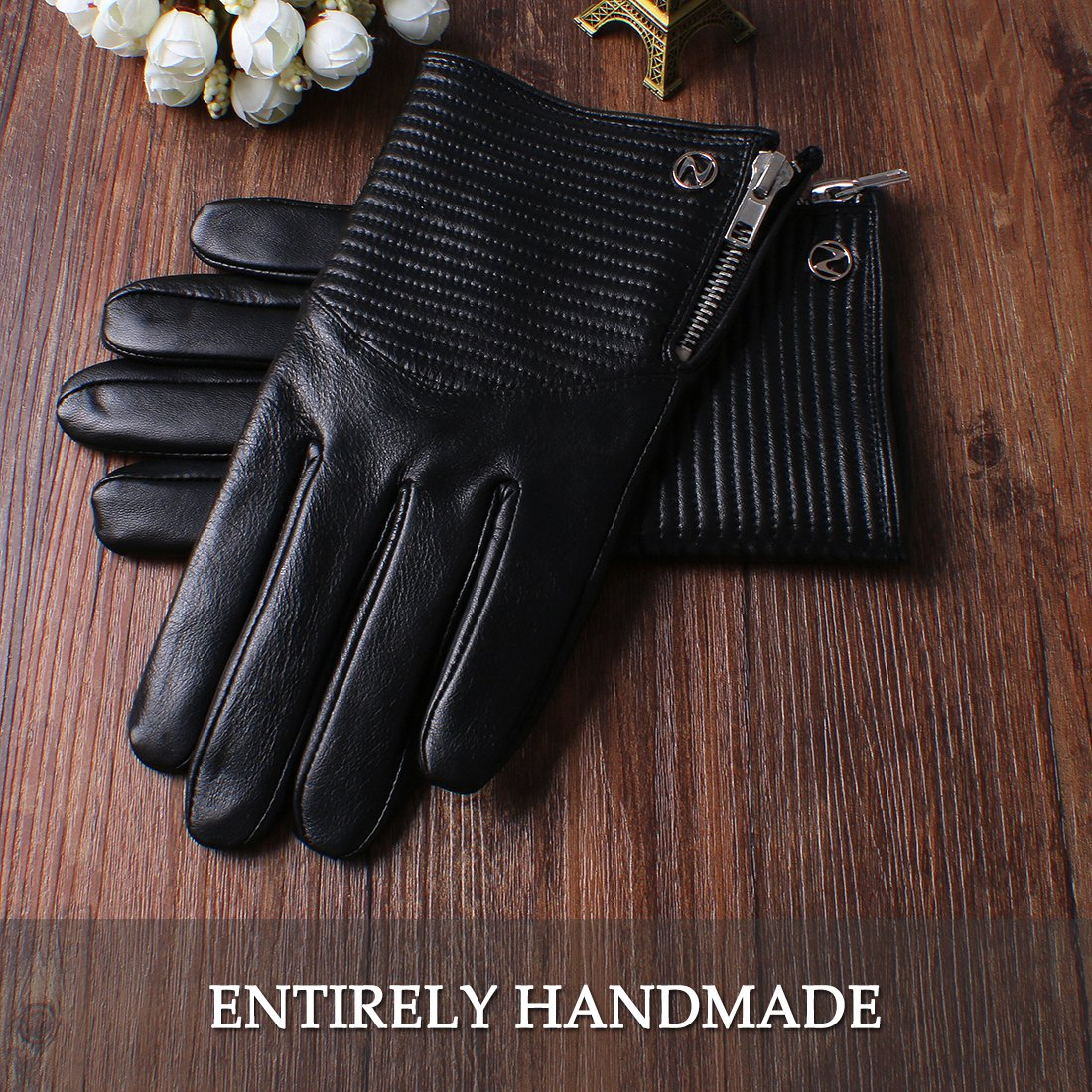Nappaglo Men's Genuine Nappa Leather Gloves Touchscreen Winter Warm Driving Cycling Mittens with Metal Zipper (M (Palm Girth:8''-8.5''), Black (Touchscreen)) by Nappaglo (Image #4)