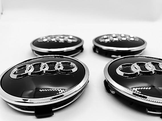 Audi Black //Chrome Wheel Centre Caps 69MM x4 For A1 A3 A4 A5 TT Q3 Q5 Q7 S Line