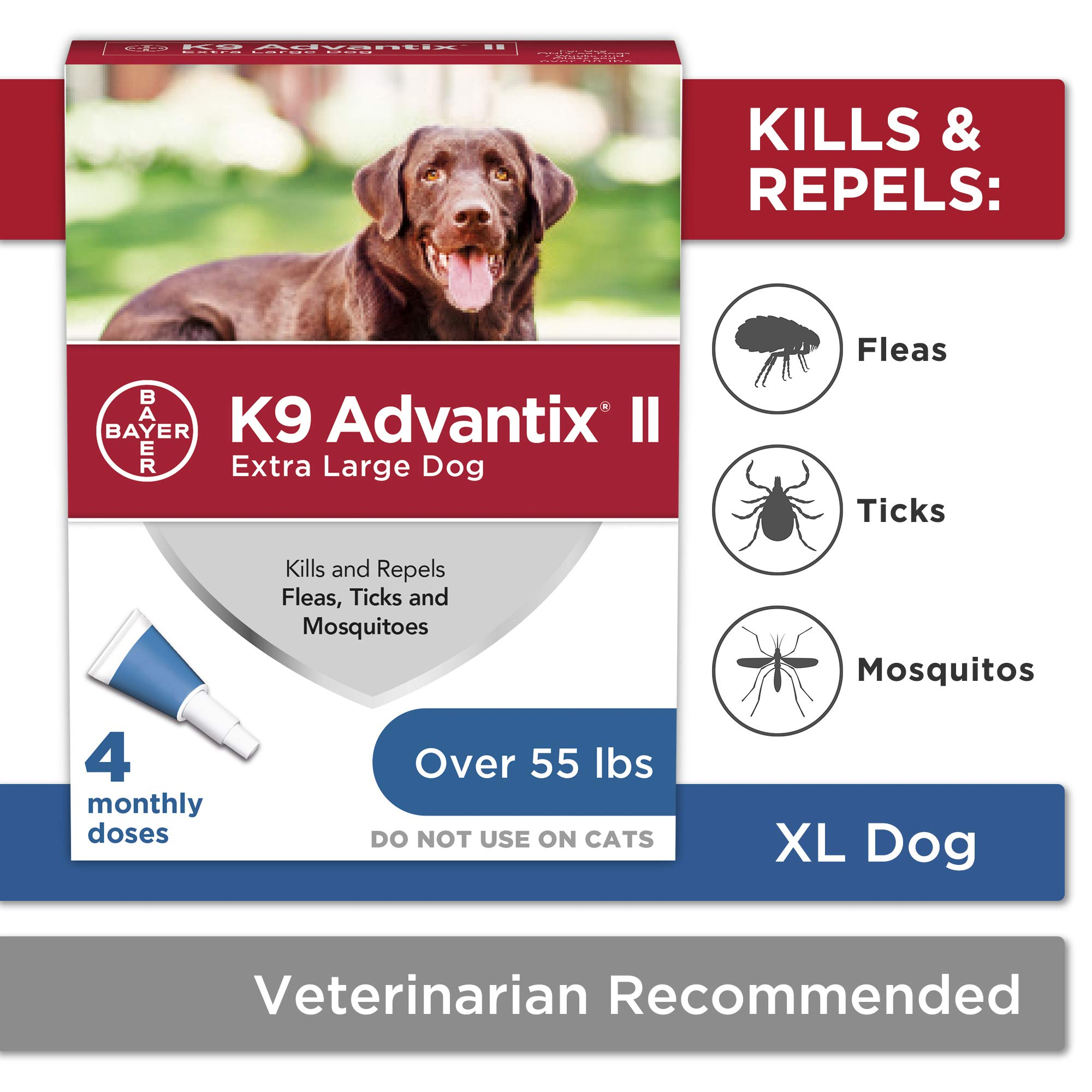 Bayer K9 Advantix II Flea, Tick and Mosquito Prevention for X-Large Dogs, Over 55 lb, 4 doses by Bayer Animal Health