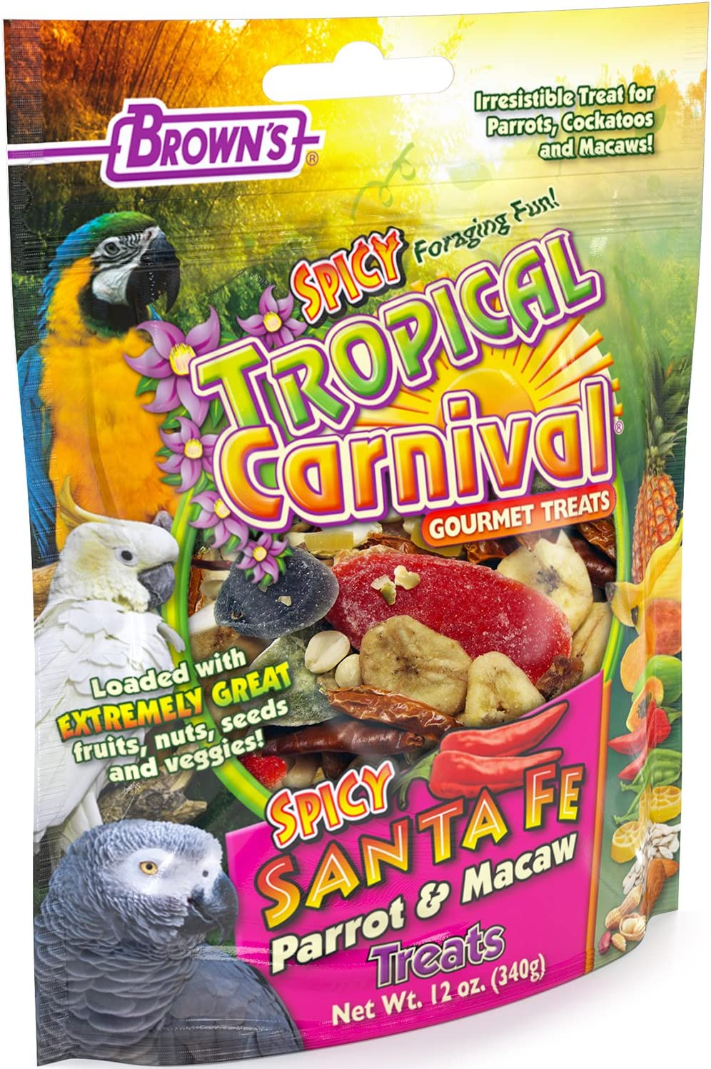 F.M. Brown'S Tropical Carnival Gourmet Spicy Santa Fe Parrot And Macaw Treat With Chili Peppers, Fruits, Veggies, And Nuts, 12-Oz Bag