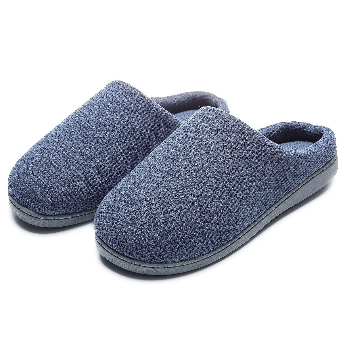 Men's Casual Cute Warm Slip-on House Slippers Flats Anti-Slip Shoes Navy Blue US 7-8