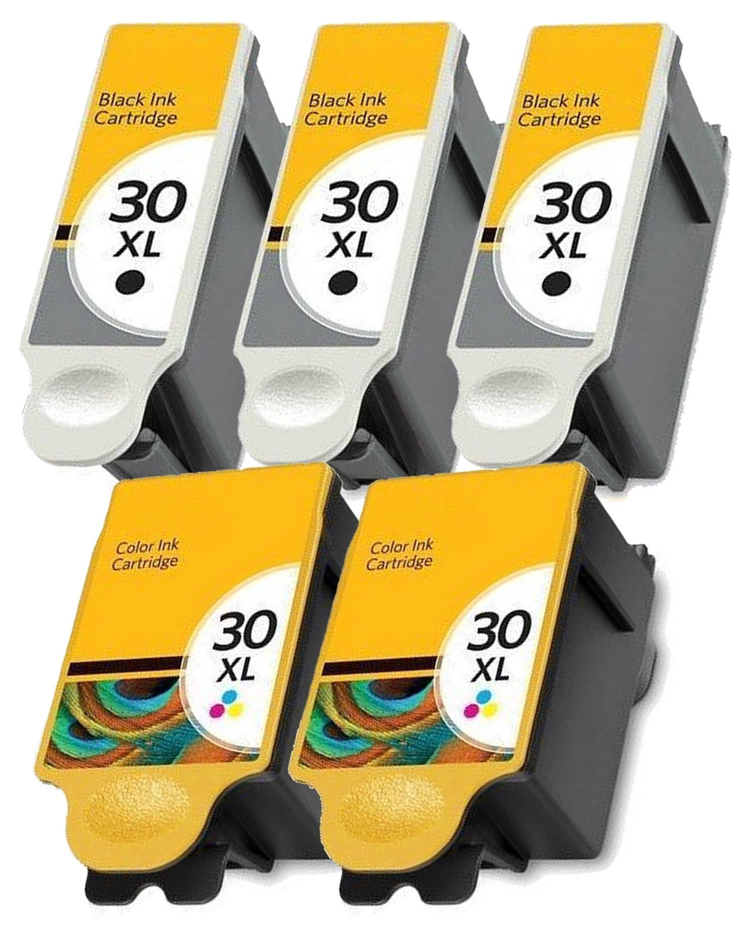 Cartlee Set of 5 Compatible 30xl High Yield Ink Cartridges for Kodak Hero 3.1 Hero 5.1 ESP 3.2 ESP C110 ESP C310 ESP Office 2150, ESP C315, ESP Office 2170