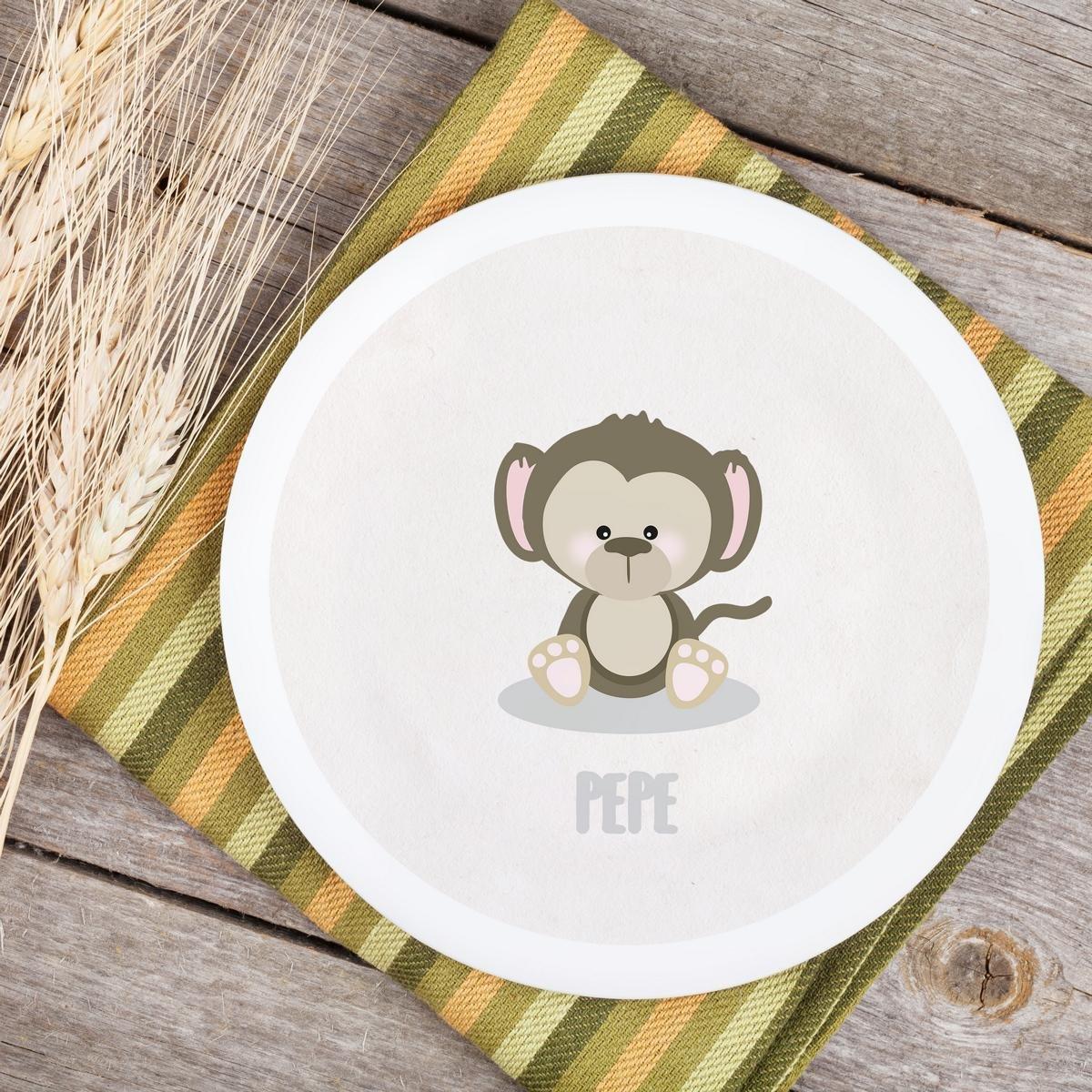 Teller Kinderteller Melaminteller Kunststoffteller Dreamchen Affe Pepe