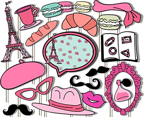 Amazoncom Pink Paris Party Photo Booth Props Kit 20 Pack Party