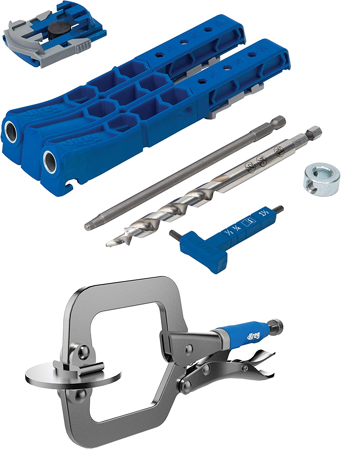Kreg Pocket Hole Jig 320 with KHC-MICRO 2 inch Classic Face Frame Clamp (320 Jig w/Clamp) - -