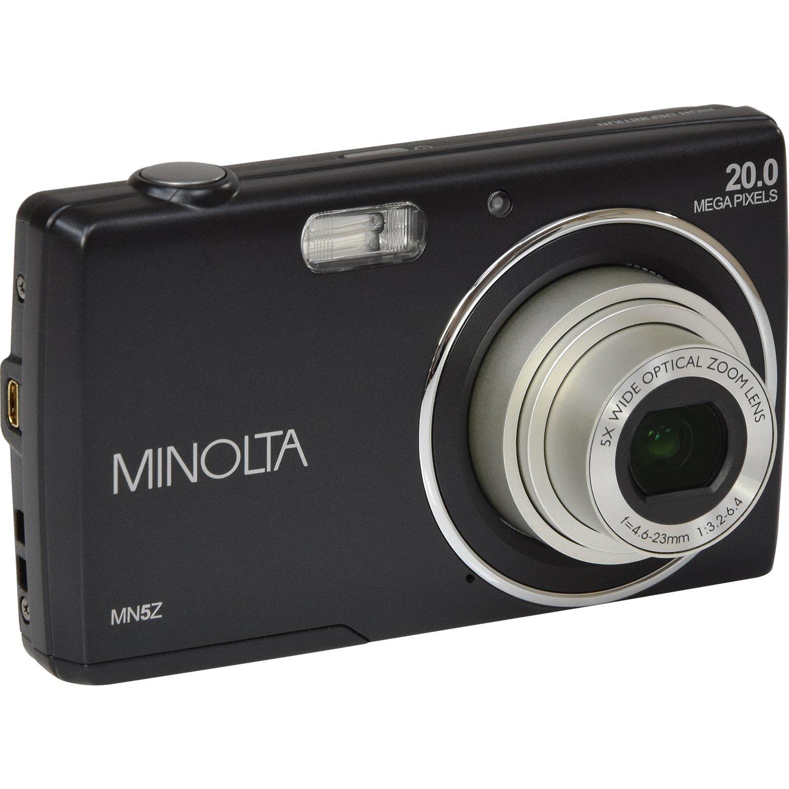 Minolta 20 Mega Pixels Digital Camera, 5x Optical Zoom & HD Video with 2.7'' LCD, Black (MN5Z-BK)