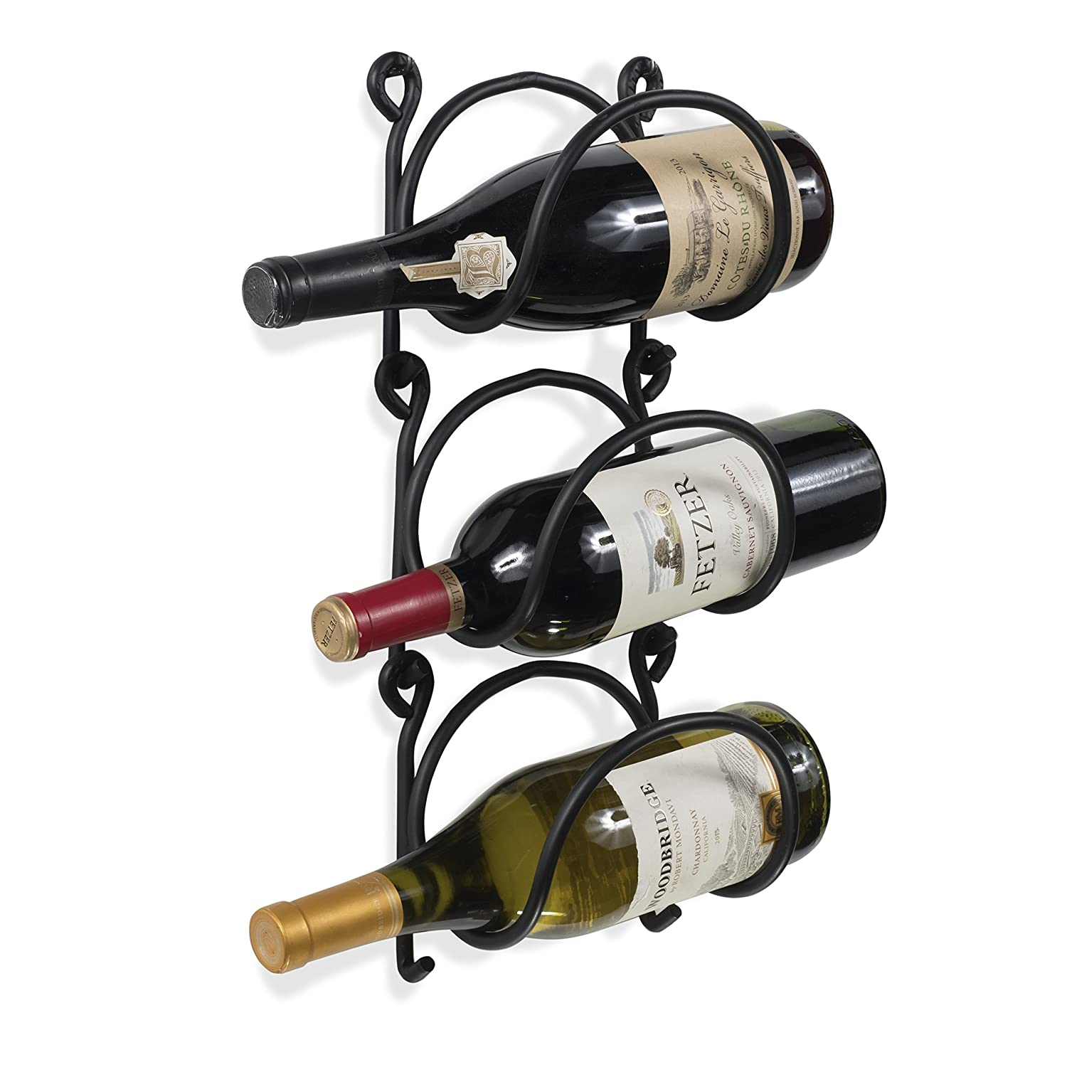 Wallniture Wrought Iron Wine Rack – Wall Mount Bottle Storage Organizer – Rustic Home Decor Set of 3 Rack and Hook