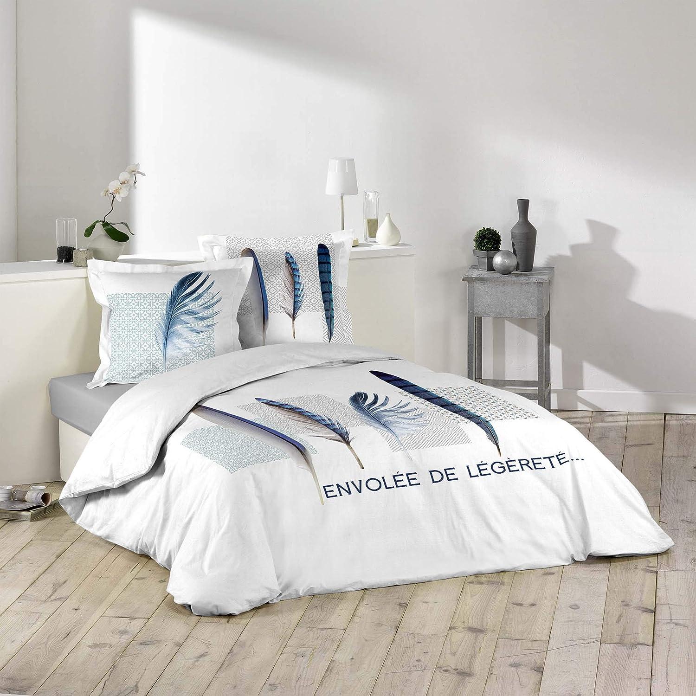 douceur dint/érieur parure 3 pi/èces 200x200 cm blue plume