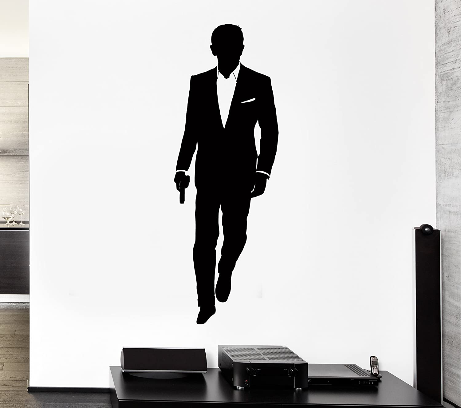 amazon com wall stickers vinyl decal james bond 007 secret agent amazon com wall stickers vinyl decal james bond 007 secret agent intelegent service z1033i m 12 5 in x 35 in black home kitchen