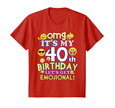 Kids Its My 40th Birthday Funny Emoji T Shirt Gift 10 Red