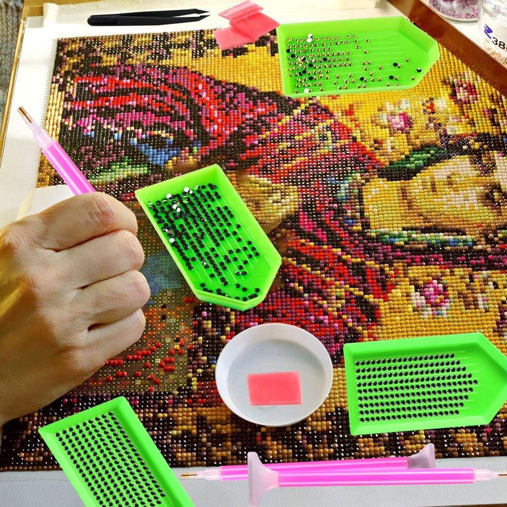 YFWUQI 5D Herramientas de Pintura de Diamantes con A4 Mesa de Luz Dibujo y Caja de 28 Ranuras DIY Diamond Painting Kit Tools USA para Hacer 5D Pintura Diamante,Punto de Cruz Diamante