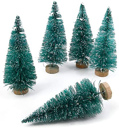 Goldenlight 27Pcs Sapin de Noel Miniature Arbre de No/ël Artificiel Mini Vert et Blanc Bleu Turquoise Mixte Decoration de Table Int/érieur Chambre Maison