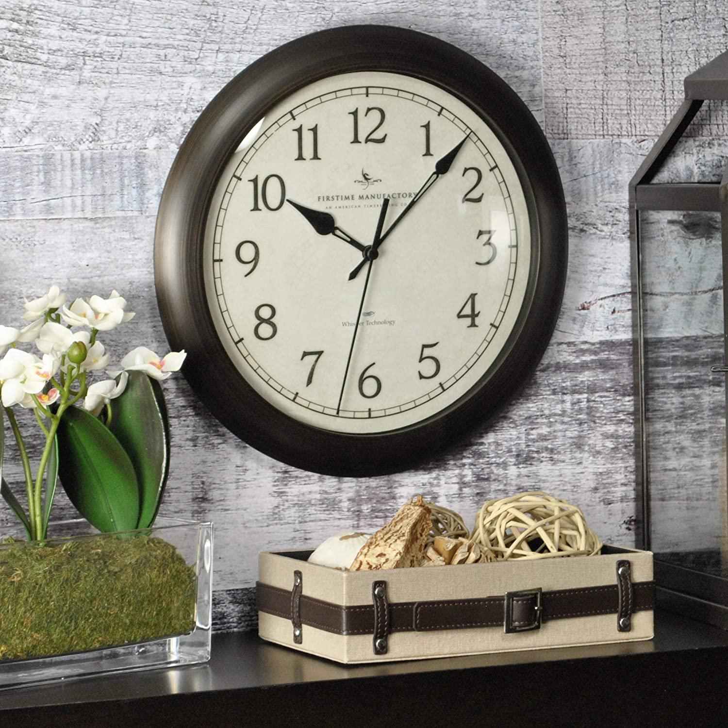 """FirsTime & Co. Slim Wall Clock, 11"""", Oil Rubbed Bronze"""