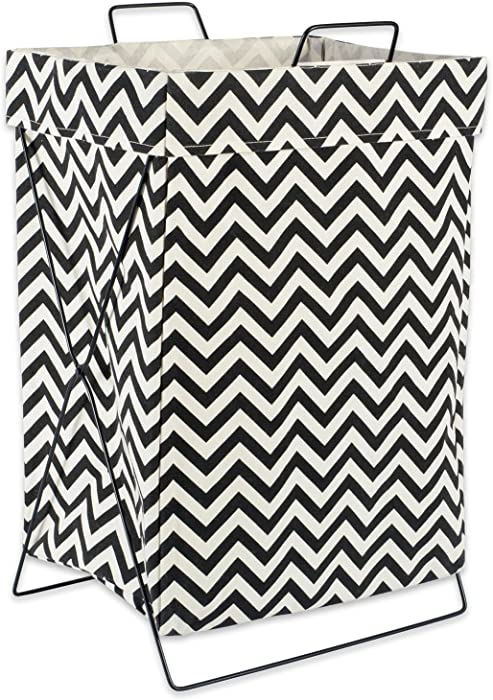 "DII X Frame Collapsible Heavy Duty Fabric Laundry Bin Perfect In YourBedroom, Nursey, Dorm, Closet, Laundry Room, 15"" - Black Chevron"