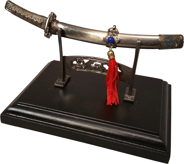 Metal abrecartas, japonés Samurai Sabre, katana-metal en soporte de madera: Amazon.es: Oficina y papelería