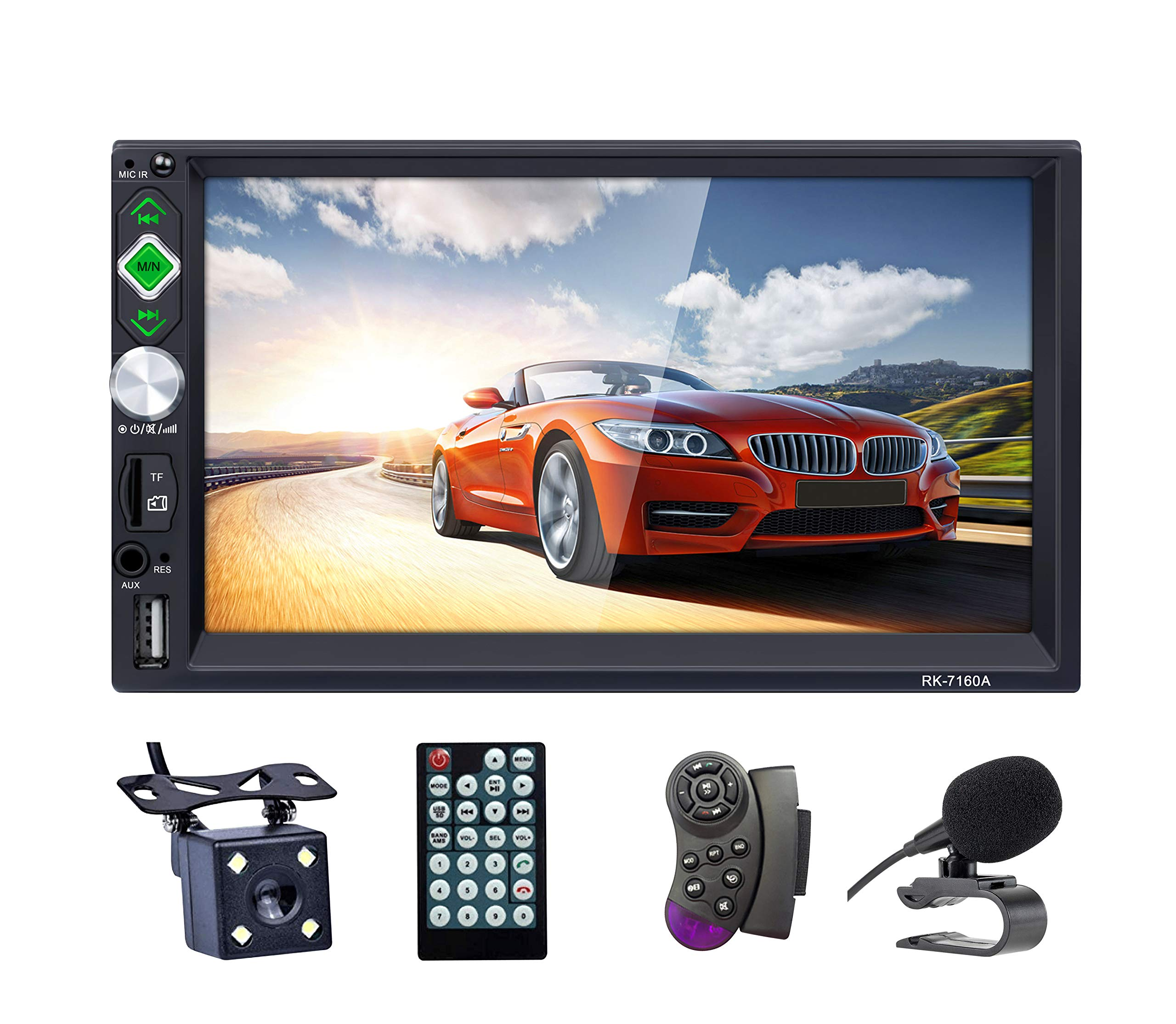 LSLYA Bluetooth Car Stereo 7 inch HD Touch Capacitive screen 2 Din in-Dash MP5 MP3 Player Audio Video Amplifier with Hands-Free/FM AM RDS Radio/USB/SD/AUX/ Steering Wheel Controls Remote Con