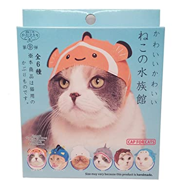 Kitan Club Aquarium Cat Cap - Pet Hat Blind Box Includes 1 of 6 Cute Styles - Soft, Comfortable and Easy-to-Use Kitty Hood - Authentic Japanese Kawaii Design - Animal-Safe Materials, Premium Quality