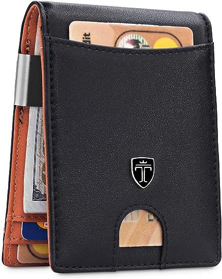 Men Slim  PU Leather Wallet Credit Card Holder Coin Zip Bag Money Clip Billfold