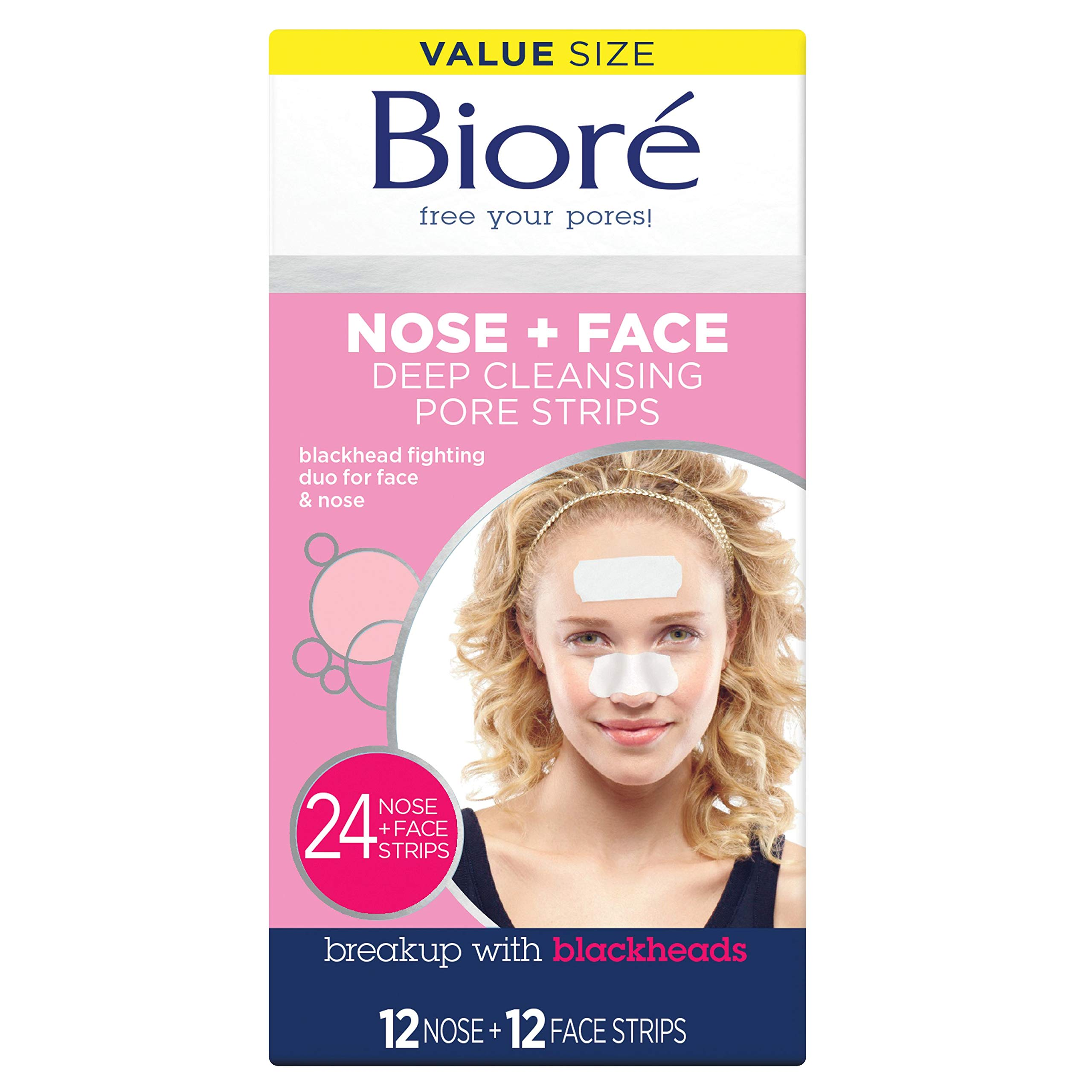 Bioré Nose+Face, Deep Cleansing Pore Strips, 24 Count Value Size, 12 Nose + 12 Face Strips for Chin or Forehead, with Instant Blackhead Removal by Bioré