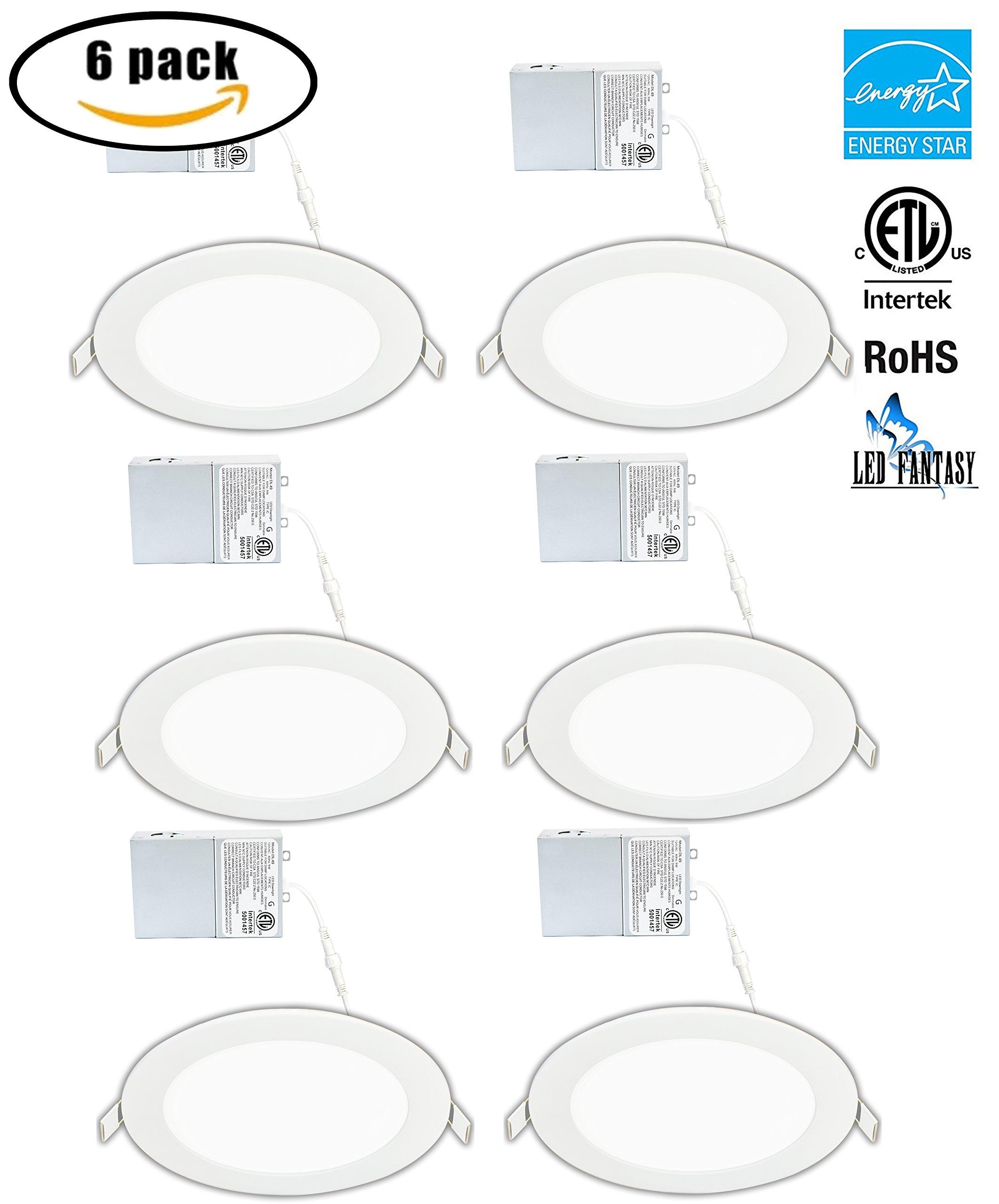 LED FANTASY 6-Inch 15W 120V Recessed Ultra Thin Ceiling LED Light Retrofit Downlight Wafer Panel Slim IC Rated ETL Energy Star 1000 Lumens (Daylight 5000k, 6 pack)