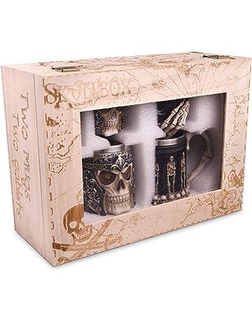 Jarra de Calavera y Juego de Copas con revestimiento de acero inoxidable - Cerveza decorativa y