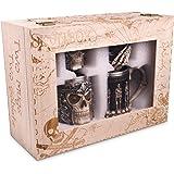Jarra de Calavera y Juego de Copas con revestimiento de acero inoxidable - Cerveza decorativa y funcional o taza de café y cáliz de vino - Set de 4 - Idea de regalo gótico para tus amigos o parejas.