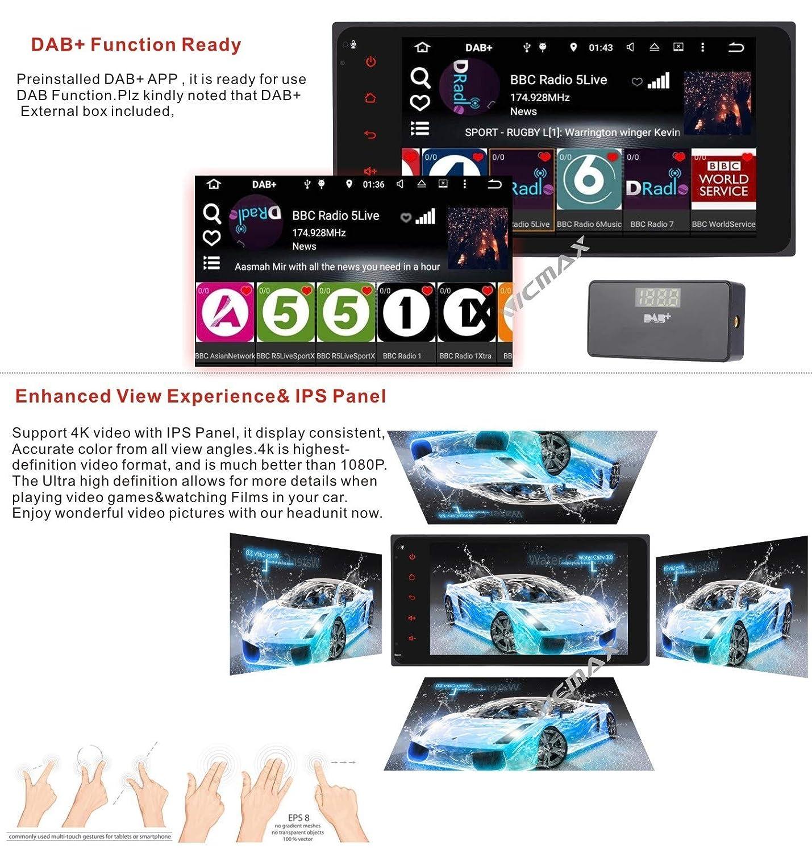 Autoradio Android 7.1 DAB + schermo multi-touch, WiFi pannello IPS 4G per Toyota RAV4 Camry Corolla 4Runner Hilux Tundra Celica Auris 7 pollici navigatore satellitare Canbus Bluetooth incluso