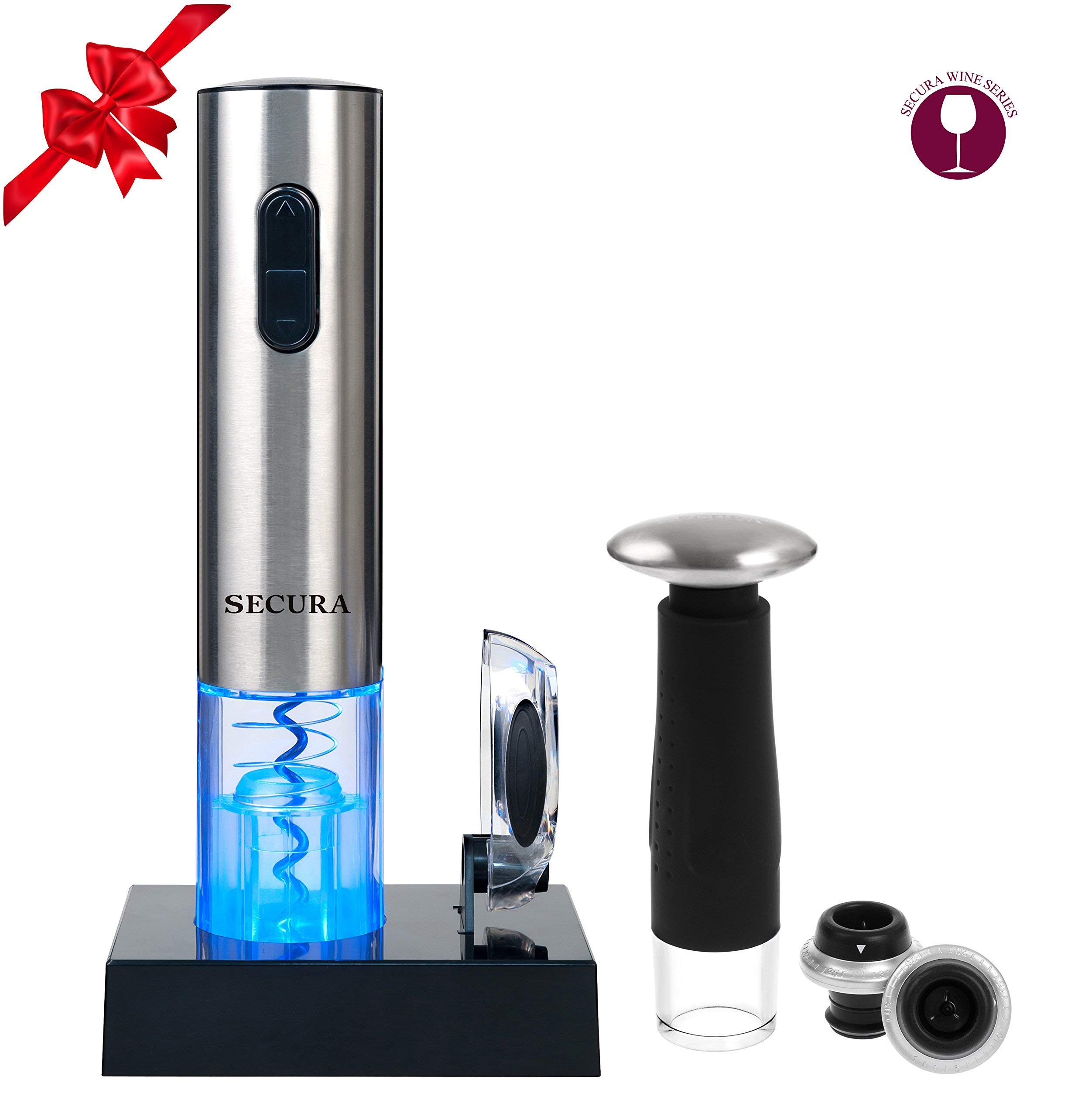 Secura Deluxe Wine Lovers Gift Set 7-Piece Wine Accessories Set Electric Wine Opener, Foil Cutter, Wine Saver Vacuum Pump + 2 Wine Stoppers