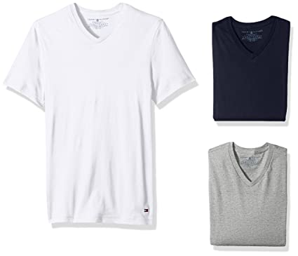 af4628f6b Tommy Hilfiger Men's Undershirts 3 Pack Cotton Classics V-Neck T-Shirt, Blue
