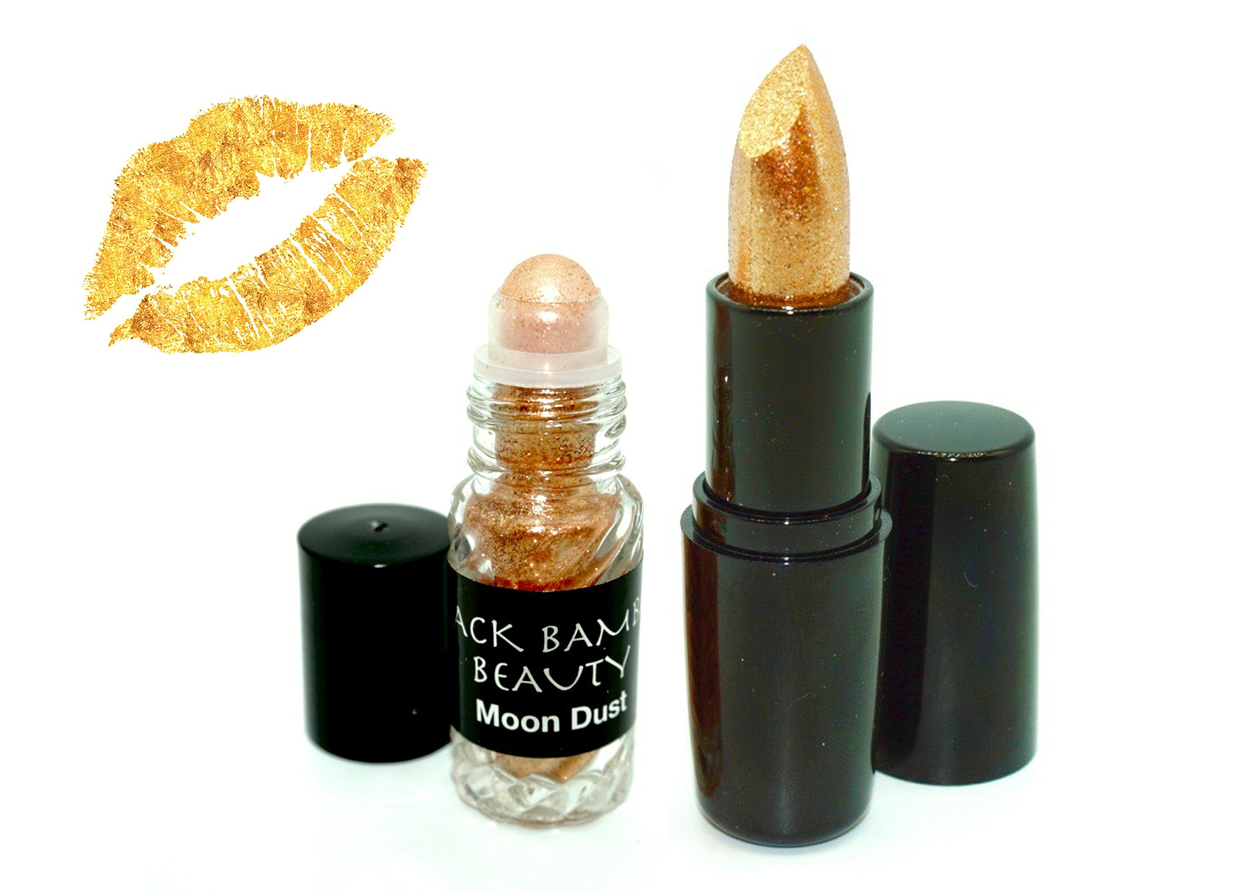 GOLD BODY GLITTER AND LIPSTICK SET | Special Offer | Includes 24K Gold Matte Moisturizing Lipstick and BONUS Gold Holographic Body Glitter | Perfect for Parties, Raves, Festivals or Celebrations | by Black Bamboo (Image #3)