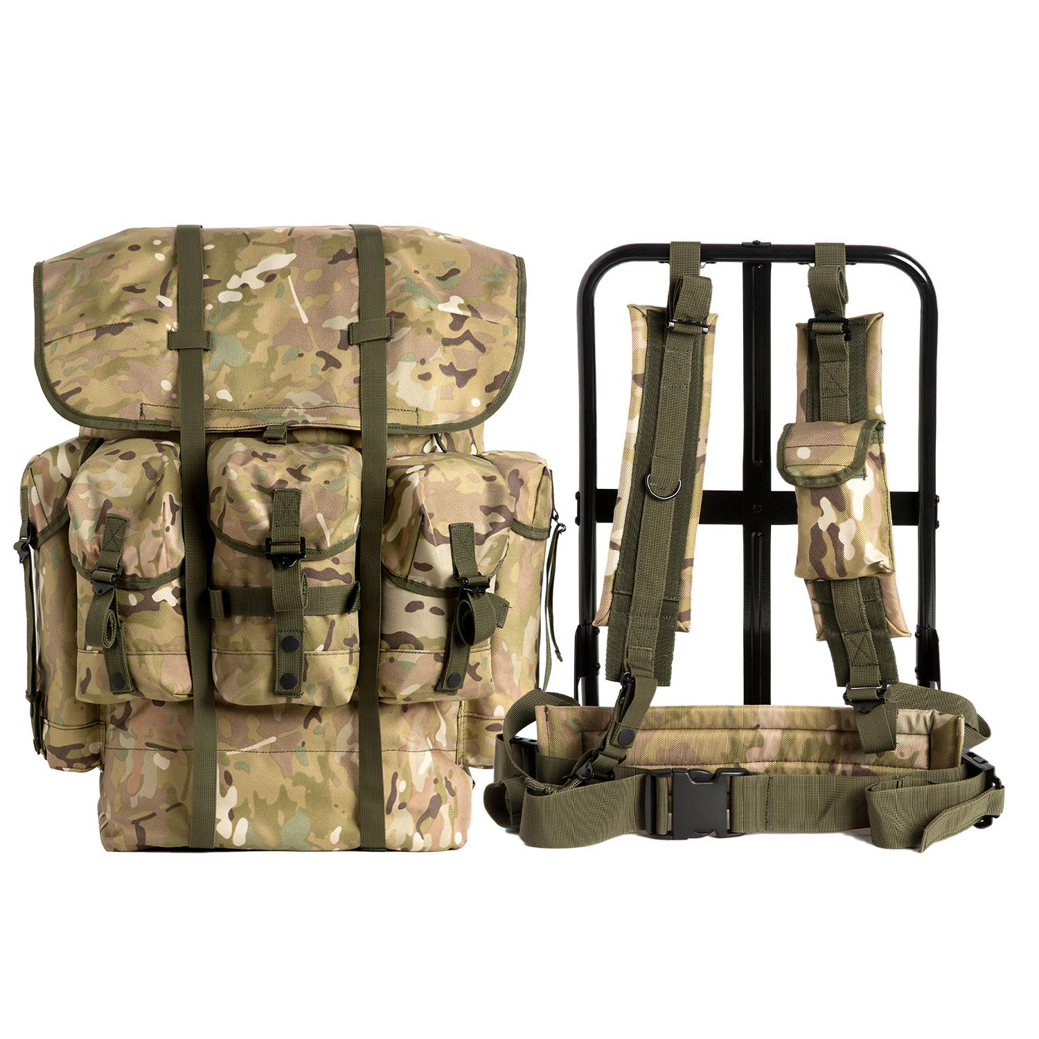 AKmaxUS Military Surplus Rucksack Alice Pack,Army Survival Combat Field A.L.I.C.E. Backpack with Suspender Strap and Frame 1000D Nylon Waterproof Multicam