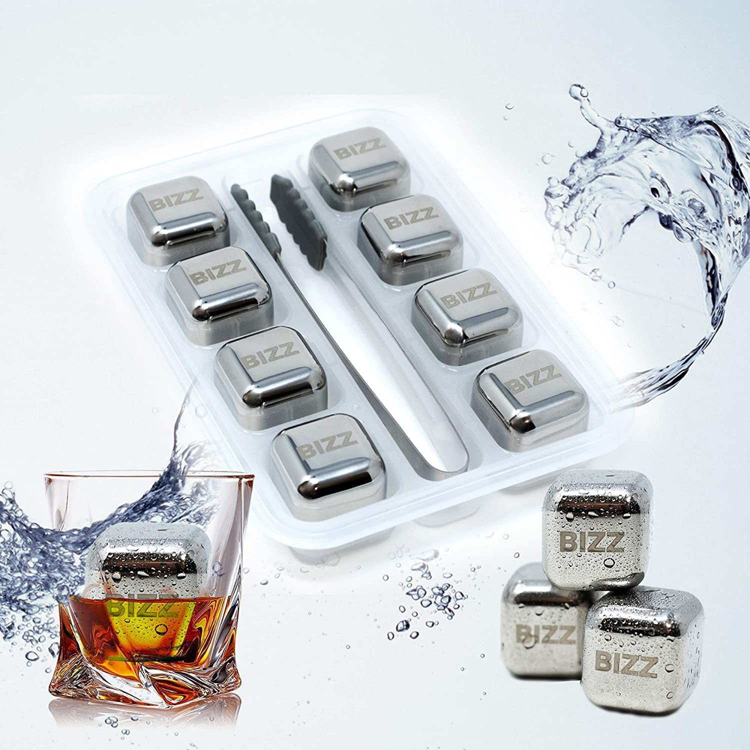 Bizz Whiskey Stones Set (8-Piece Set) Reusable Ice Cubes, Mini Tongs, Tray | Stainless Steel Cocktail Accessories | Refreezable Chilling Blocks | No More Watered-Down Taste